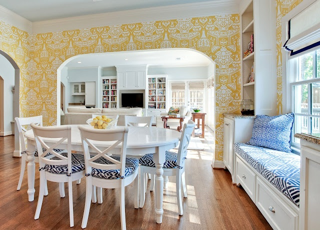 kitchen with The Vase wallpaper by David Hicks for Clarence House 640x460