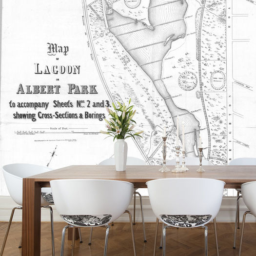 Grafico Albert Park Vintage Map Removable Wallpaper for sale in 525x525