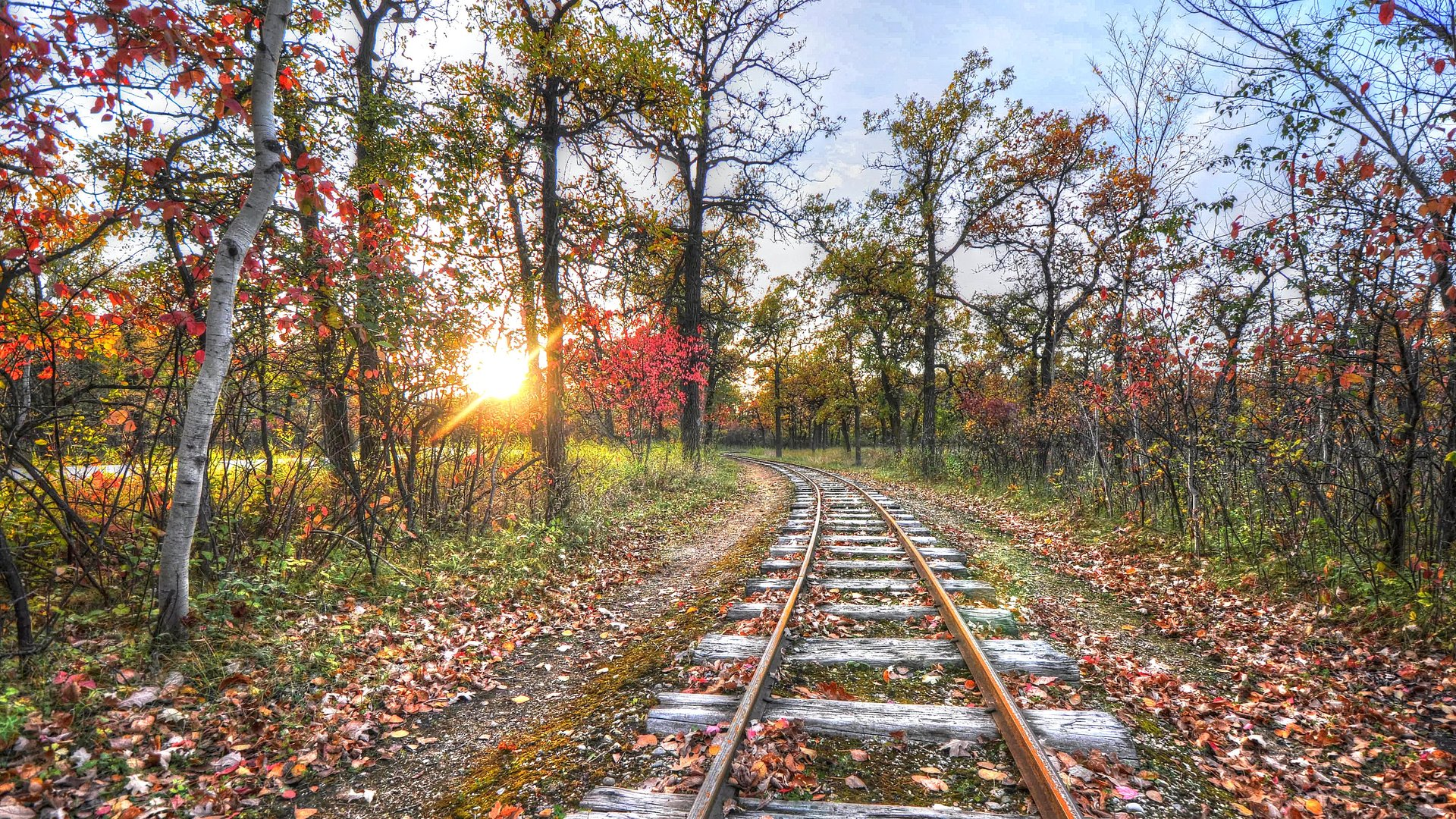 Old Train Track In Autumn At Sunrise Hdr HD Desktop Background 1920x1080