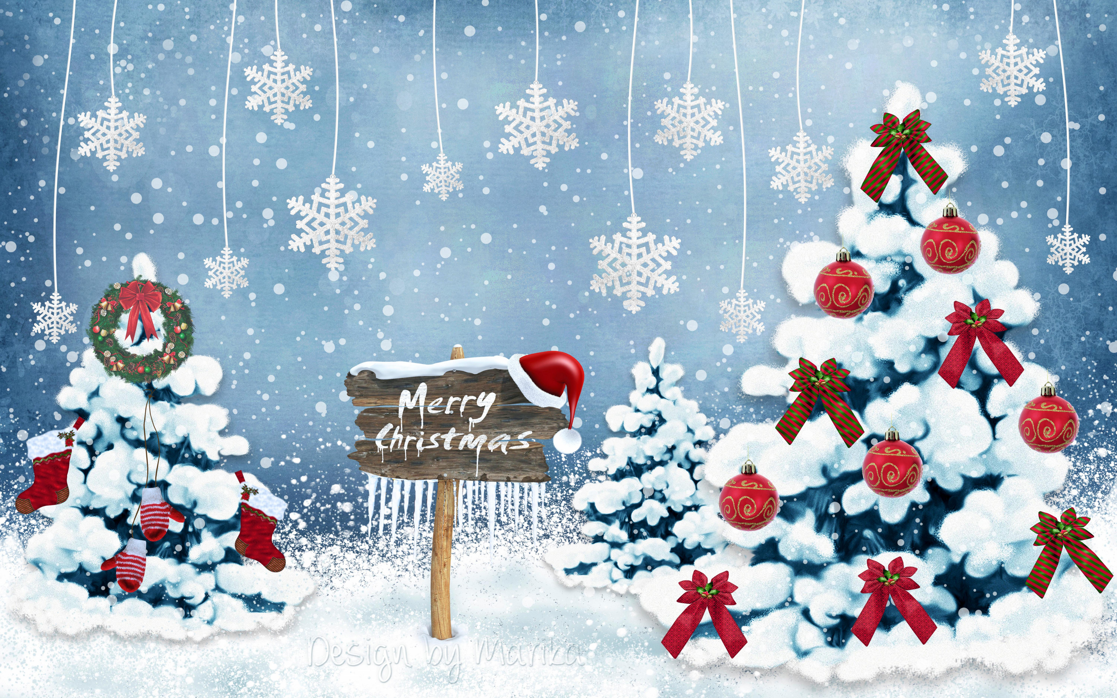 Merry Christmas Card 4k Wallpaper 3840x2400