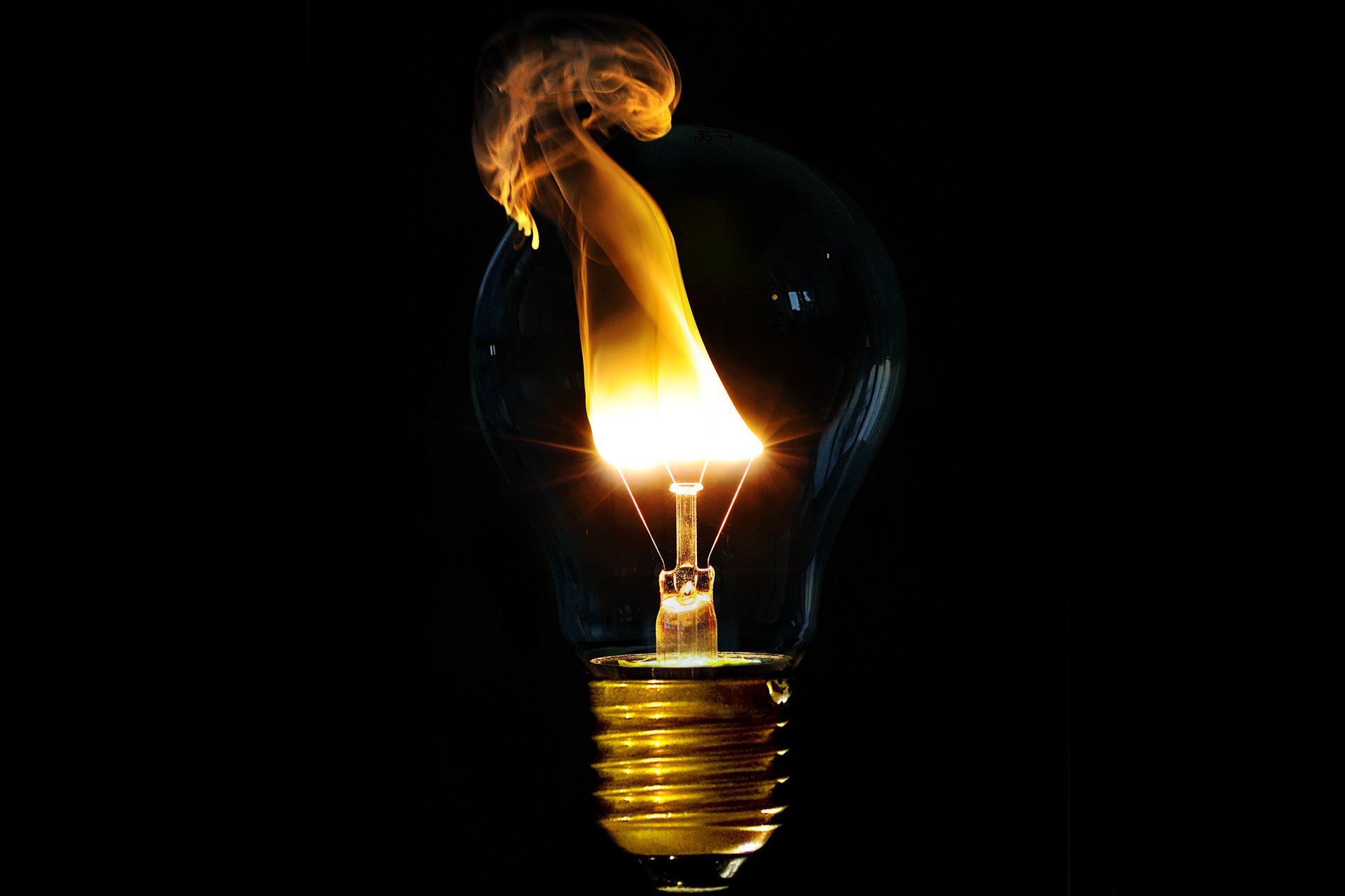 Wallpaper Incandescent light bulb fire simple desktop wallpaper 1920x1280