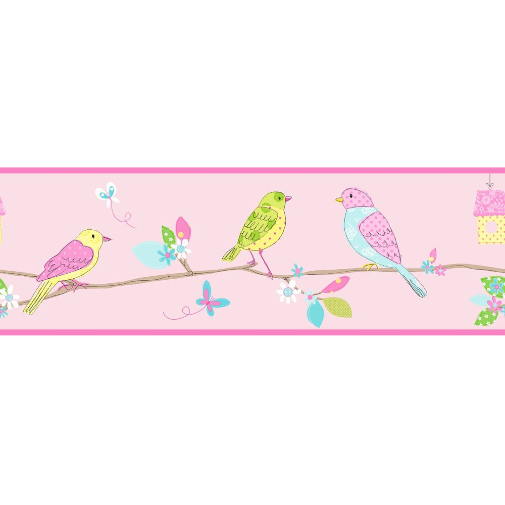 Fine Decor Hoopla Pretty Birds Hoopla Wallpaper Border Pink 1000x1000