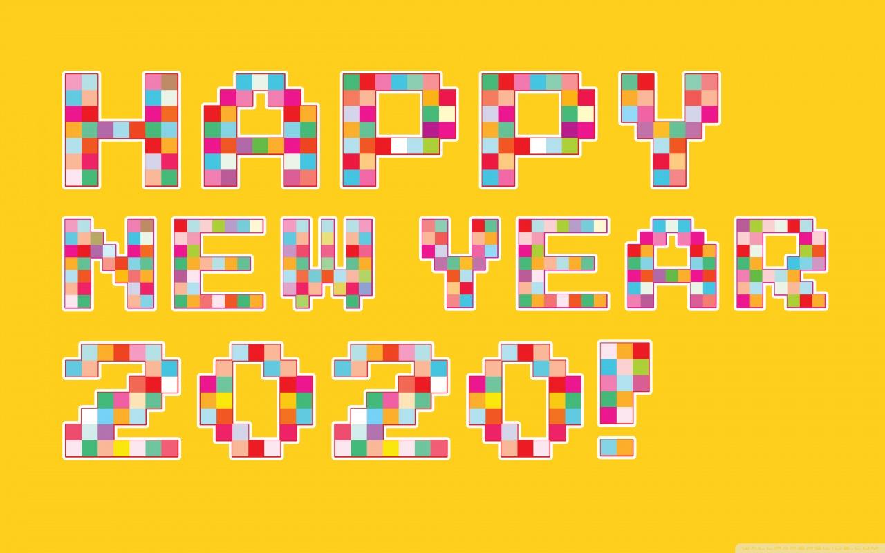 Happy New Year 2020 Pixel Art 4K HD Desktop Wallpaper for 4K 1280x800