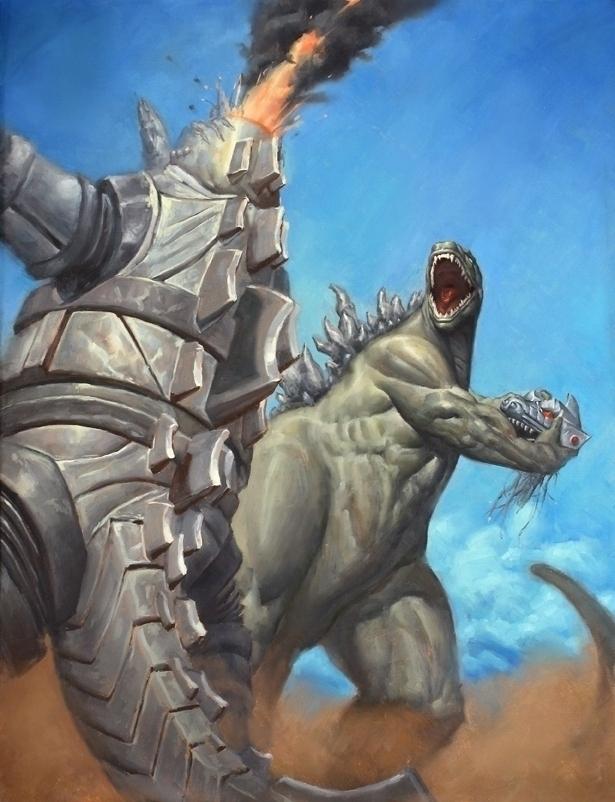 Godzilla Godzilla vs Mechagodzilla   Godzilla Finish by Matt Smith 615x802