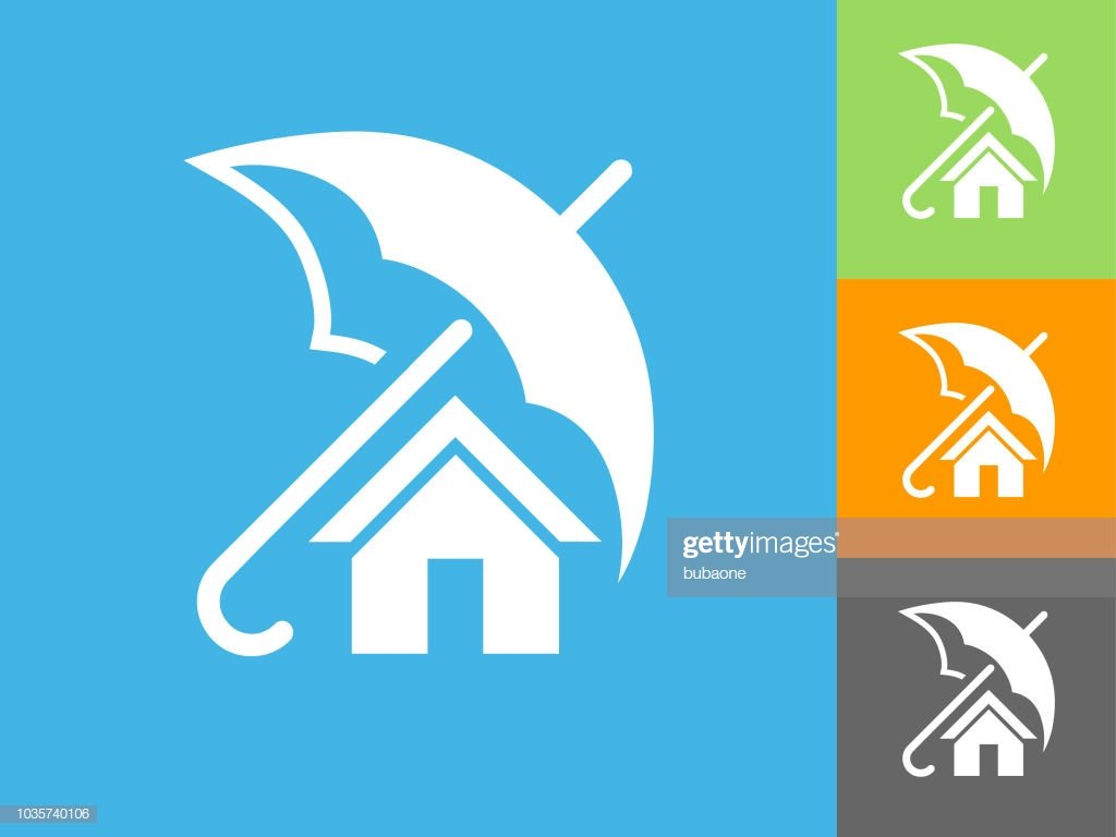 Home Insurance Flat Icon On Blue Background stock illustration 1024x768