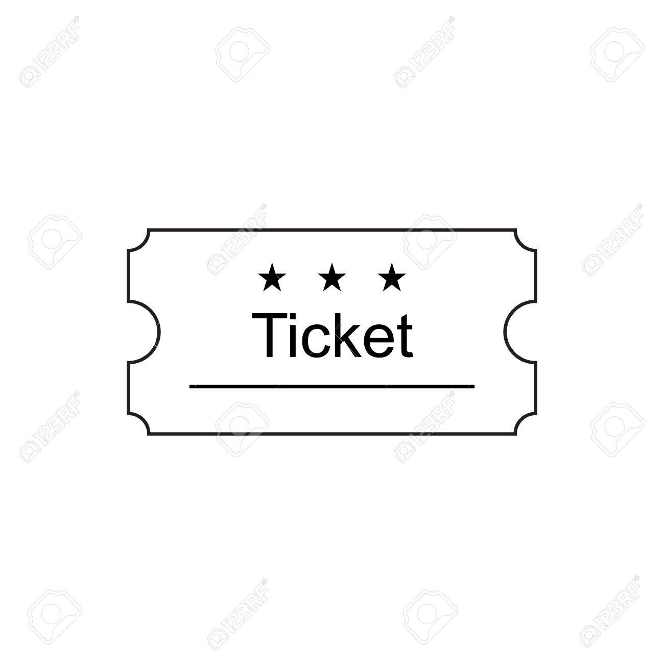 Ticket Icon In The Outline Style Ticket Stub Isolated On A 1300x1300