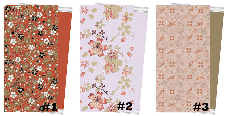set of three Japanese inspired wallpapers with matching painted walls 755x388