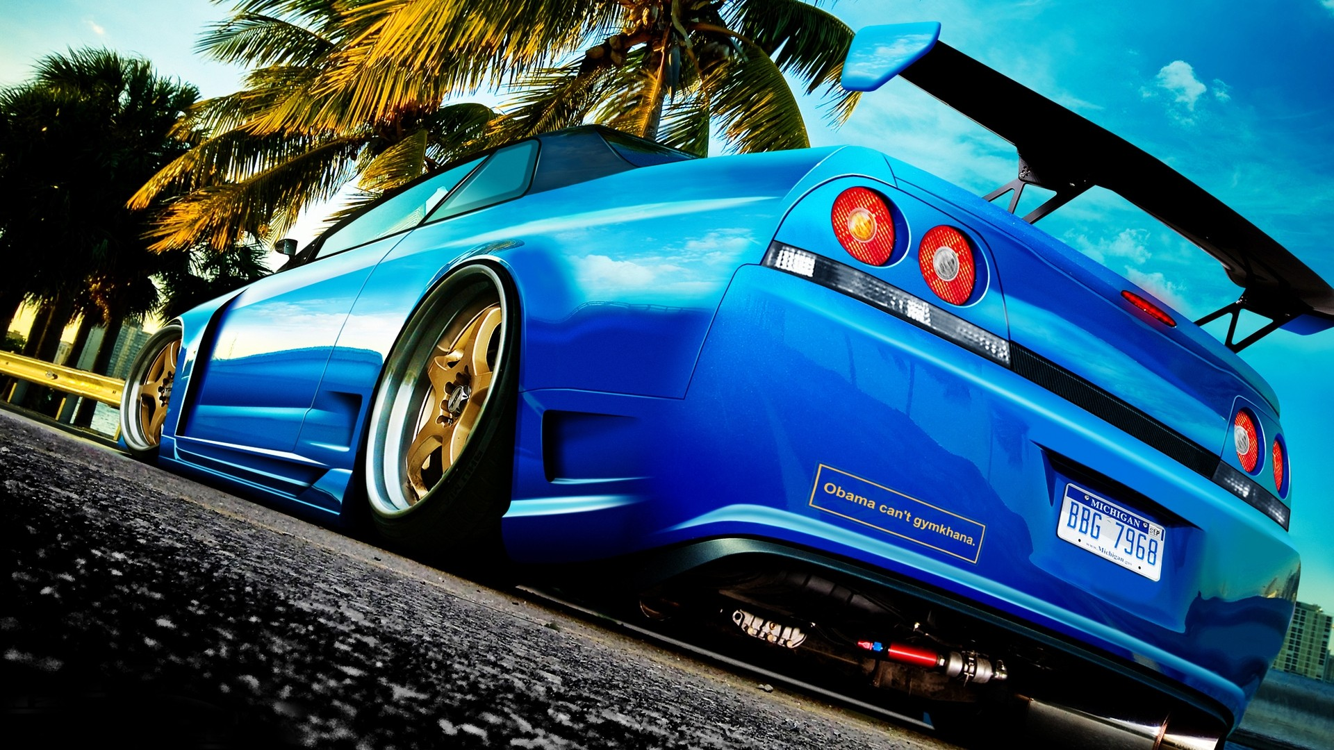 Blue Cars Wallpaper 1920x1080 Blue Cars Tuning Nissan Skyline R33 1920x1080