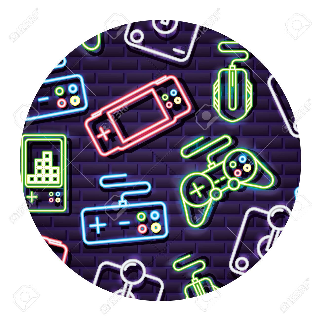 Control Joystick Gamepad Neon Video Game Background Vector 1300x1300
