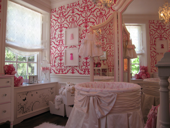 Pink Damask Nursery Wallpaper PicsWallpapercom 566x425