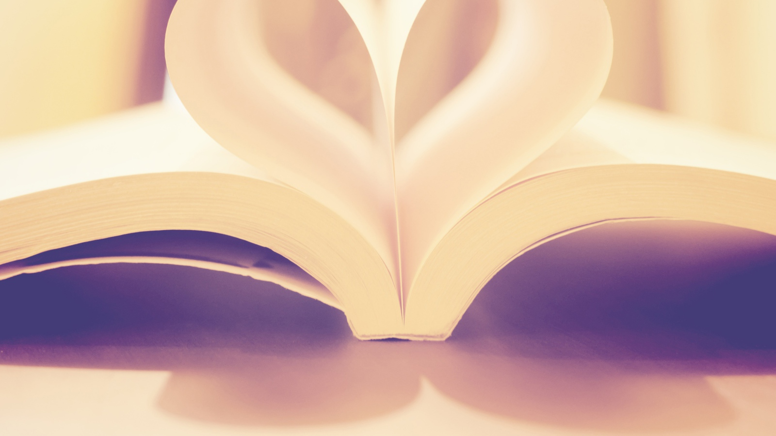 book love, creative, pages, white hearts Desktop wallpapers 1600x900