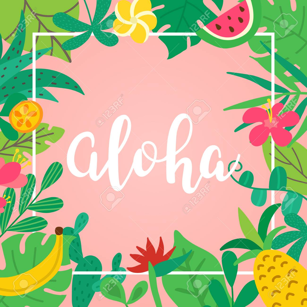 Aloha Concept Hand Drawn Lettering On Pink Background Tropical 1300x1300