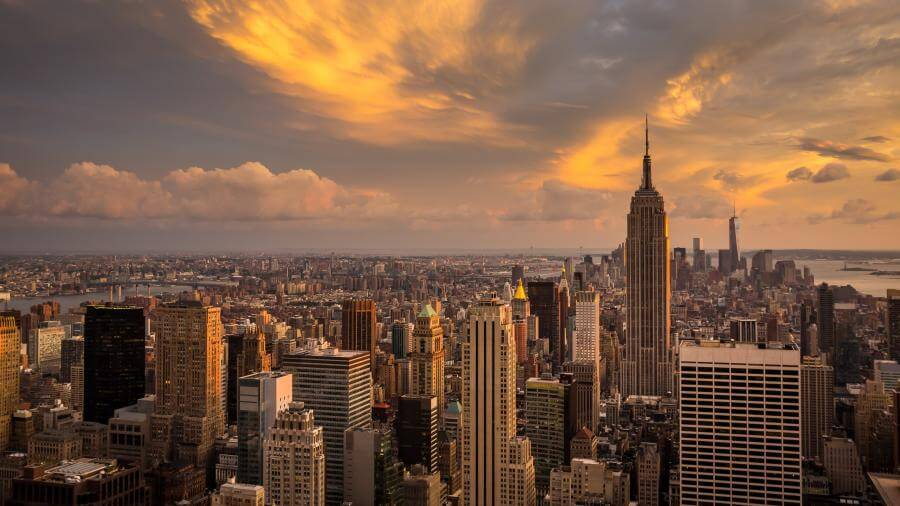 New York City Sunset Skyline 4K Wallpapers 900x506