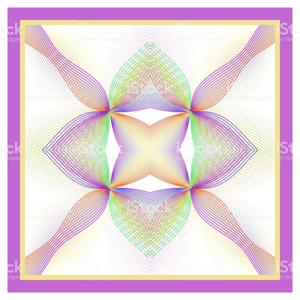 Shawl Bandana Design Purple Pink Yellow Green Ornament On A White 1024x1024