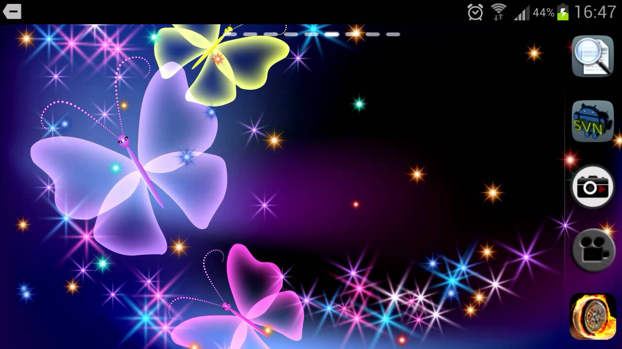 Glitter and sparkle effect butterfly live wallpaper for Android 1280x720