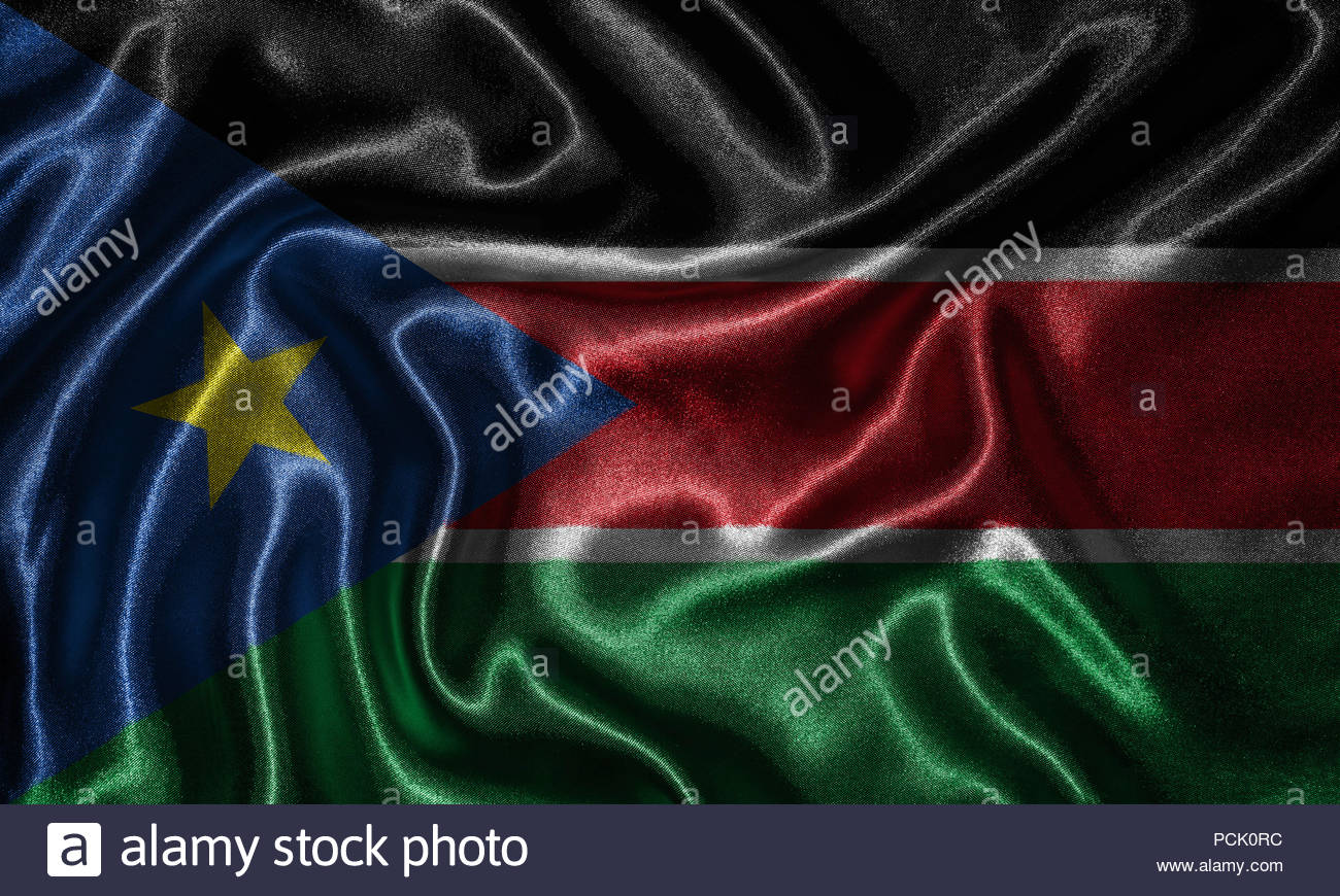 South Sudan flag   Fabric flag of South Sudan country Background 1300x870