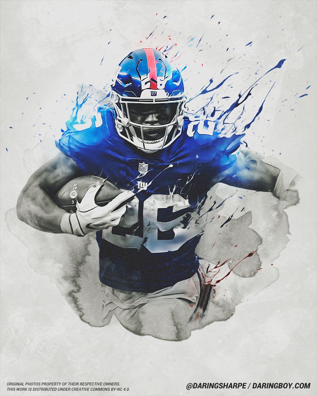 Saquon Barkley New York Giants Nfl football art Ny giants 1080x1350