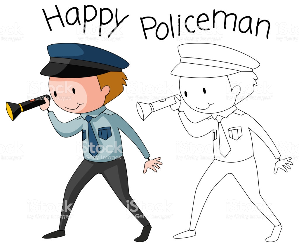 Doodle Policeman Character On White Background Stock Vector Art 1024x846