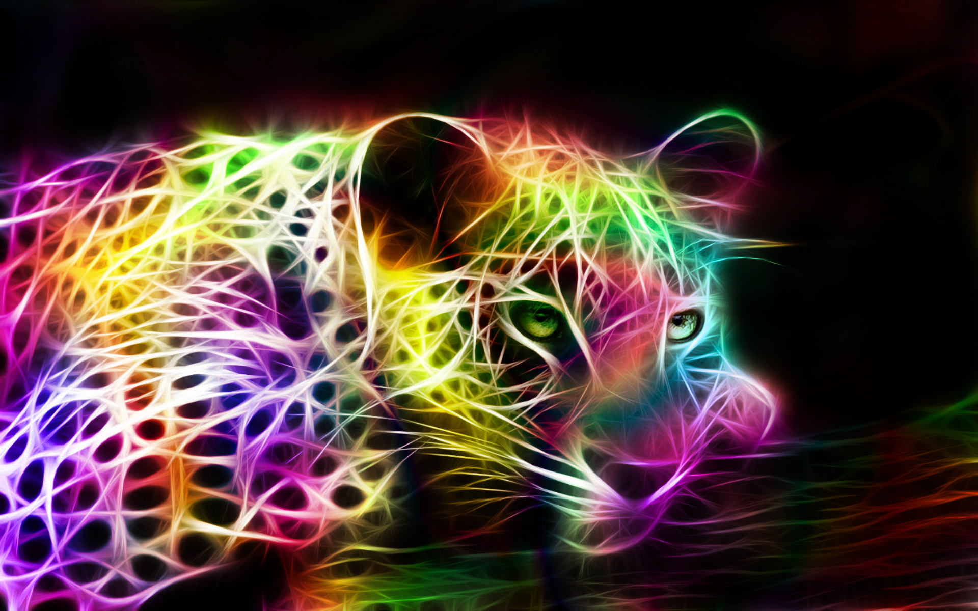 fractal rainbow colored jaguarjpg 1920x1200