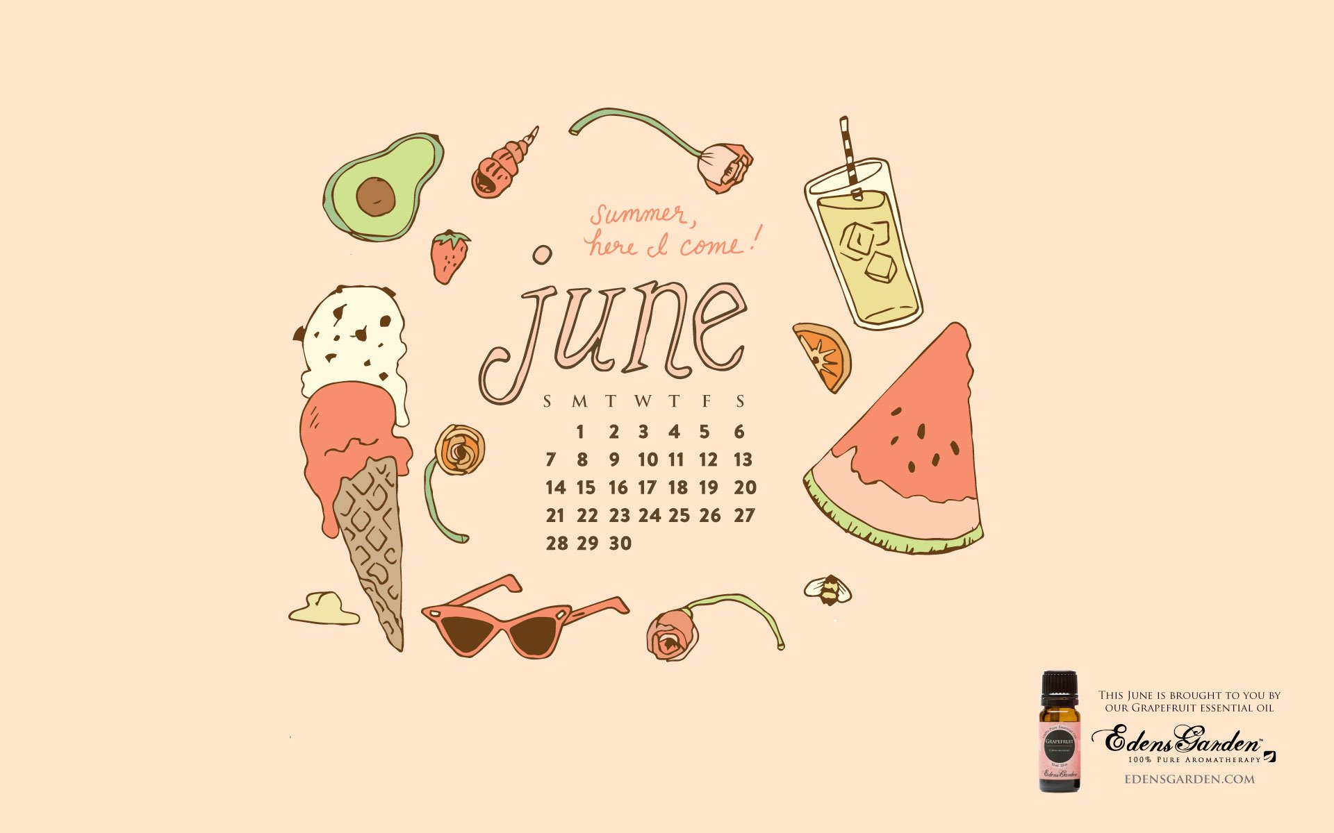 Download June 2015 Desktop Wallpaper Calendar Edens Garden 1920x1200