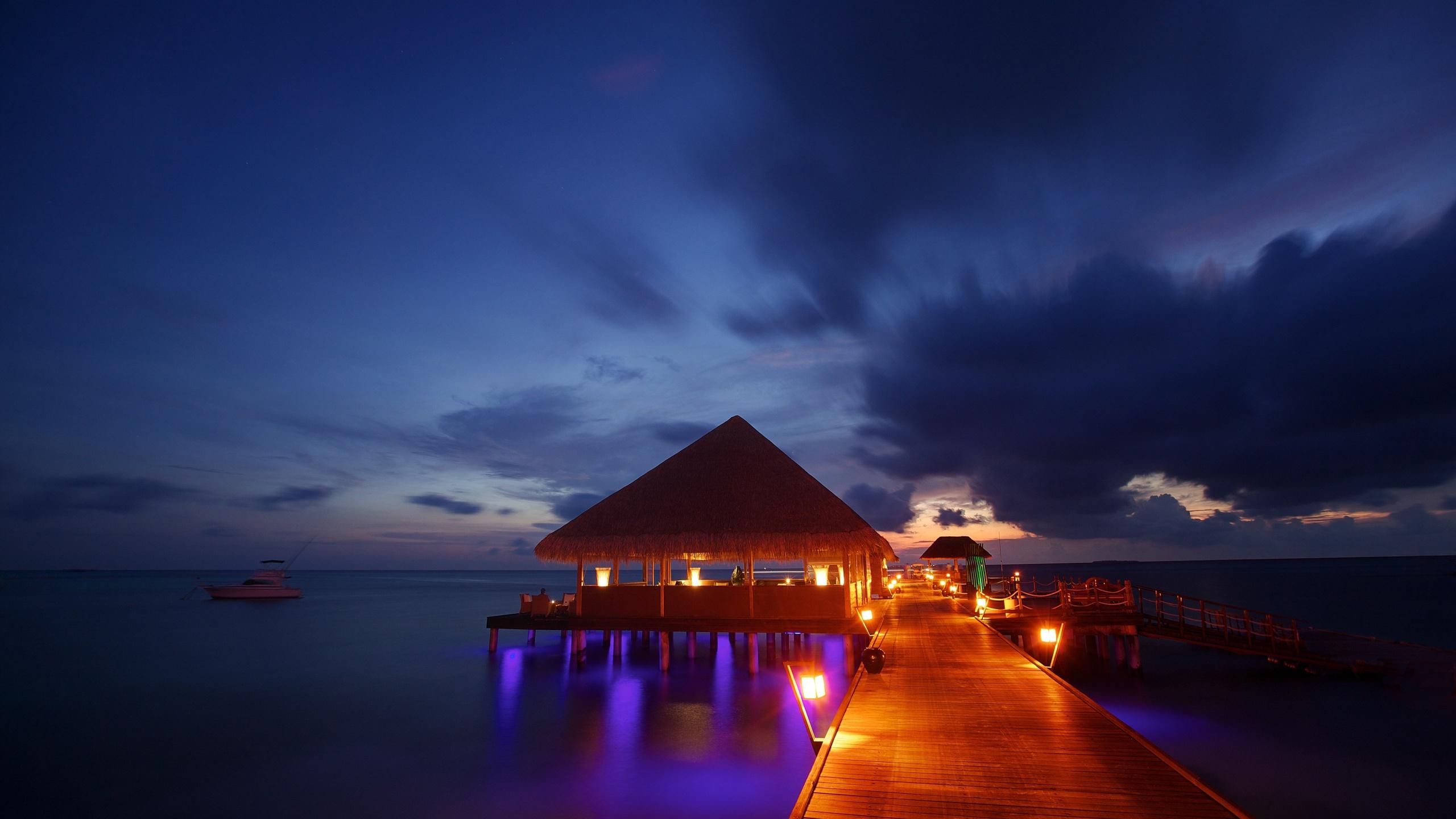 ... beach bungalow ocean sea sunset reflection wallpaper background