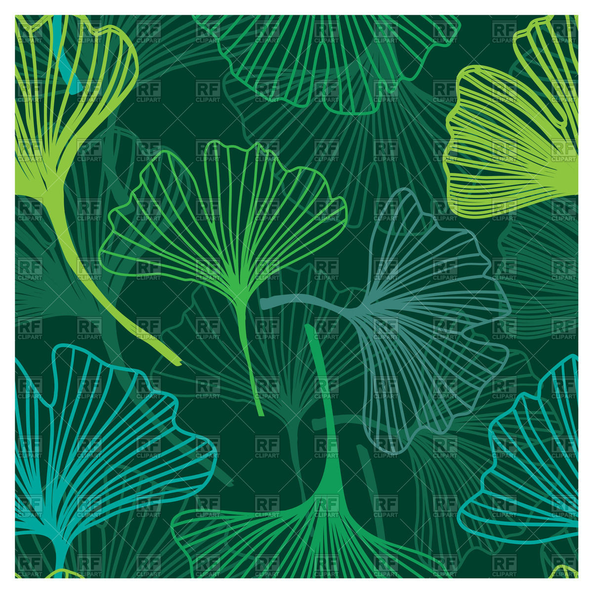 Seamless background with decorative outline of flowers   ginkgo 1200x1200