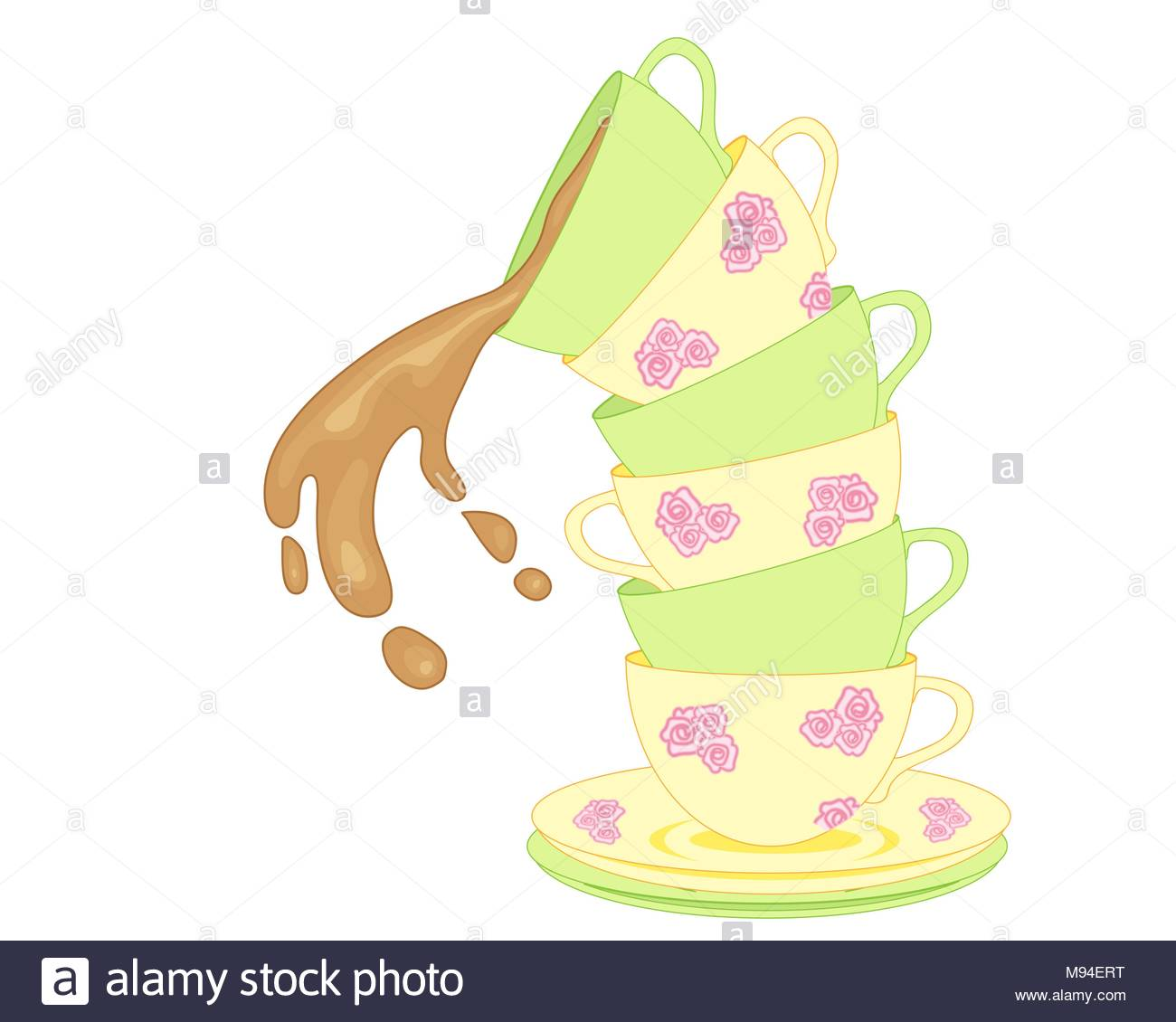 an illustration of a stack of fancy tea cups tumbling over with 1300x1130