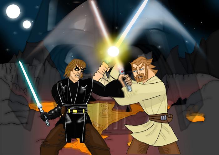 Anakin Vs Obi Wan by Mr Alexander 700x495