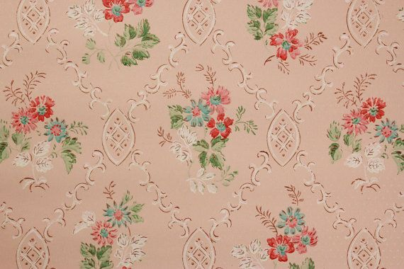 Vintage Wallpaper Pink and Aqua Bouquets on Pink  Made in England 570x380