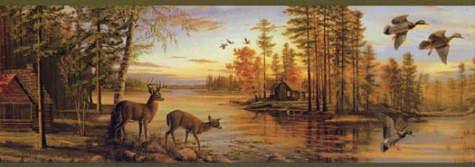 hunting wallpaper country kids huntlodge fishing wallpaper borders 525x185
