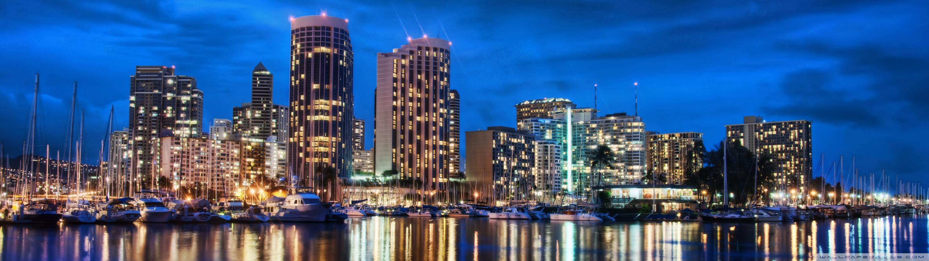 Waikiki Skyline At Night 4K HD Desktop Wallpaper for 4K Ultra 3200x900