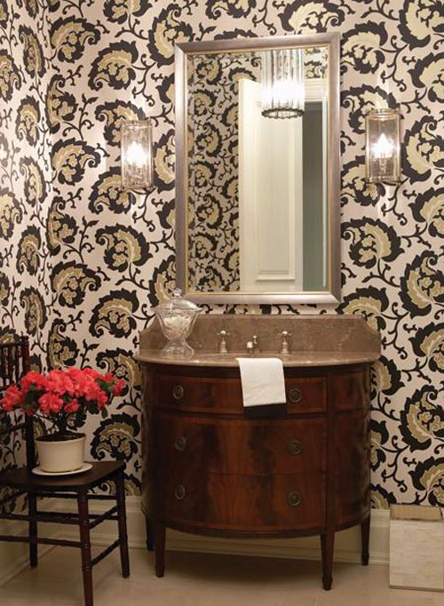30 Bathroom Wallpaper Ideas 500x682