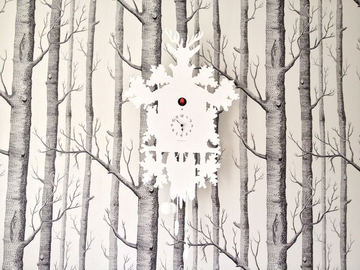 Domeniconi Cuckoo Clock against Cole Son birch wallpaper 736x552