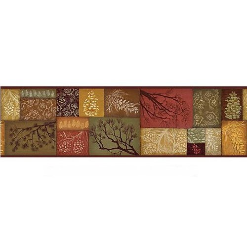 Sculpted Rustic Lodge Pinecone Swag Wallpaper Border Home 500x500