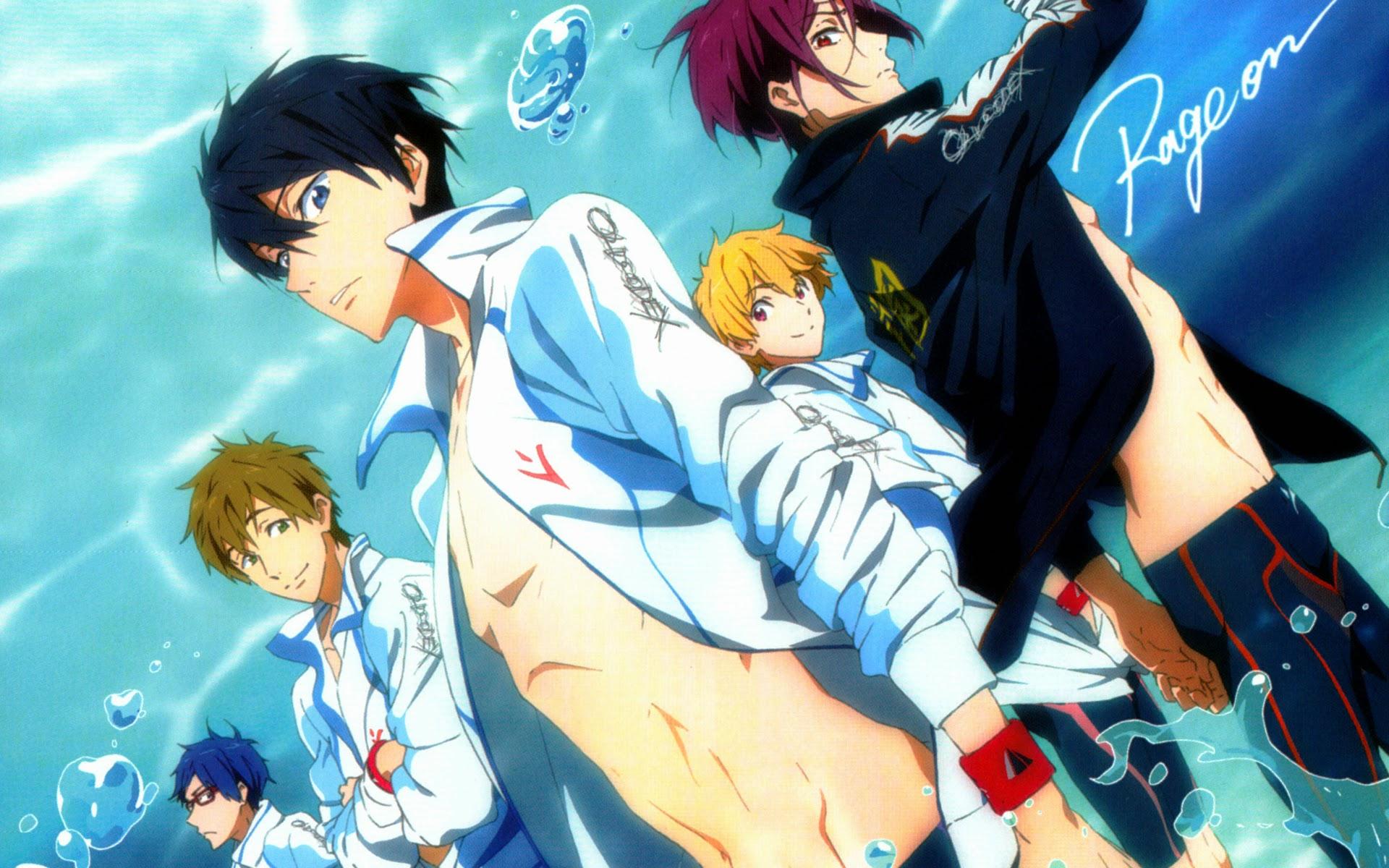 Iwatobi Swim Club Anime Boys characters Nagisa Hazuki Rin 1920x1200