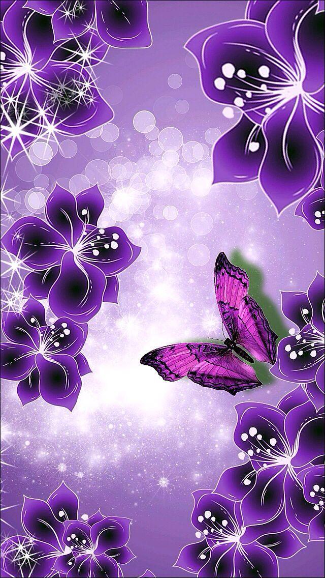 Purple and Blake flowers border Wallpapers Pinterest 640x1136
