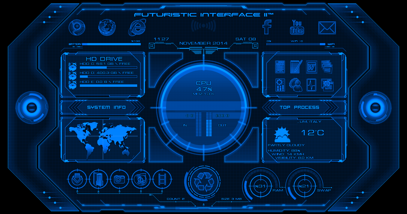 Alienbyte Futuristic Interface II Widget For Rainmeter Cleodesktop 1350x710
