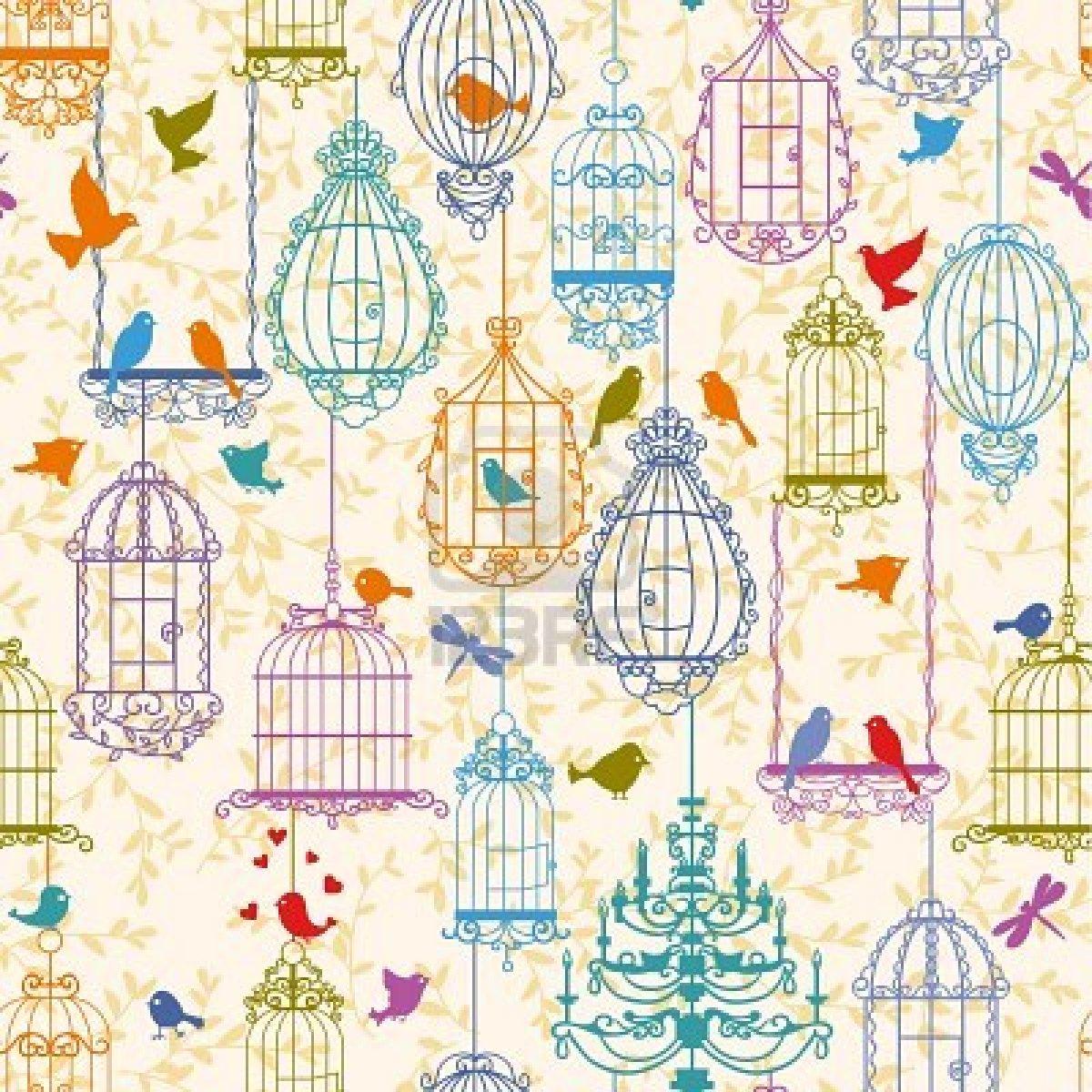 Vintage Birdcage Wallpaper 1200x1200
