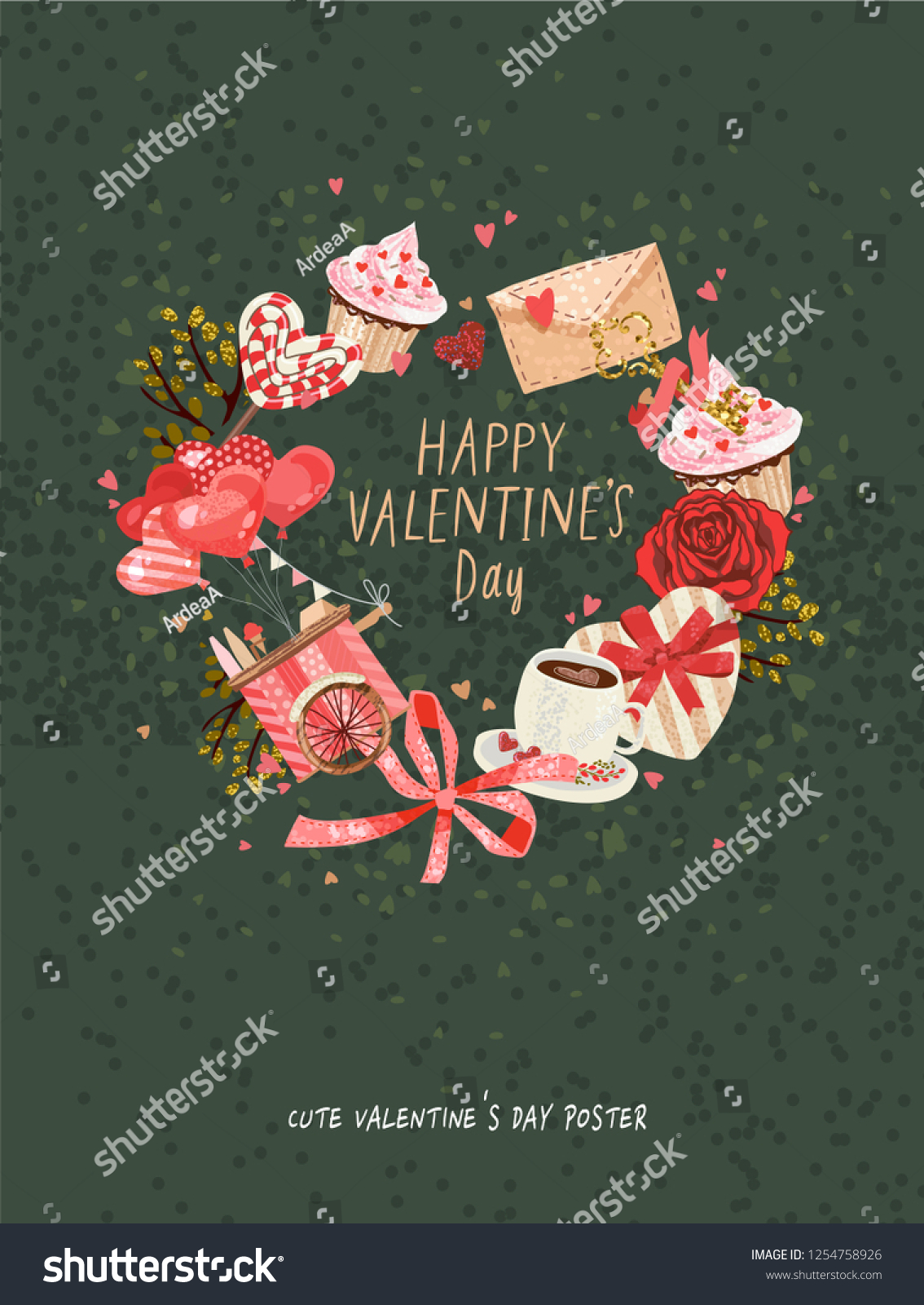 Cute Poster Valentines Day Greetings Heart Stock Vector Royalty 1134x1600