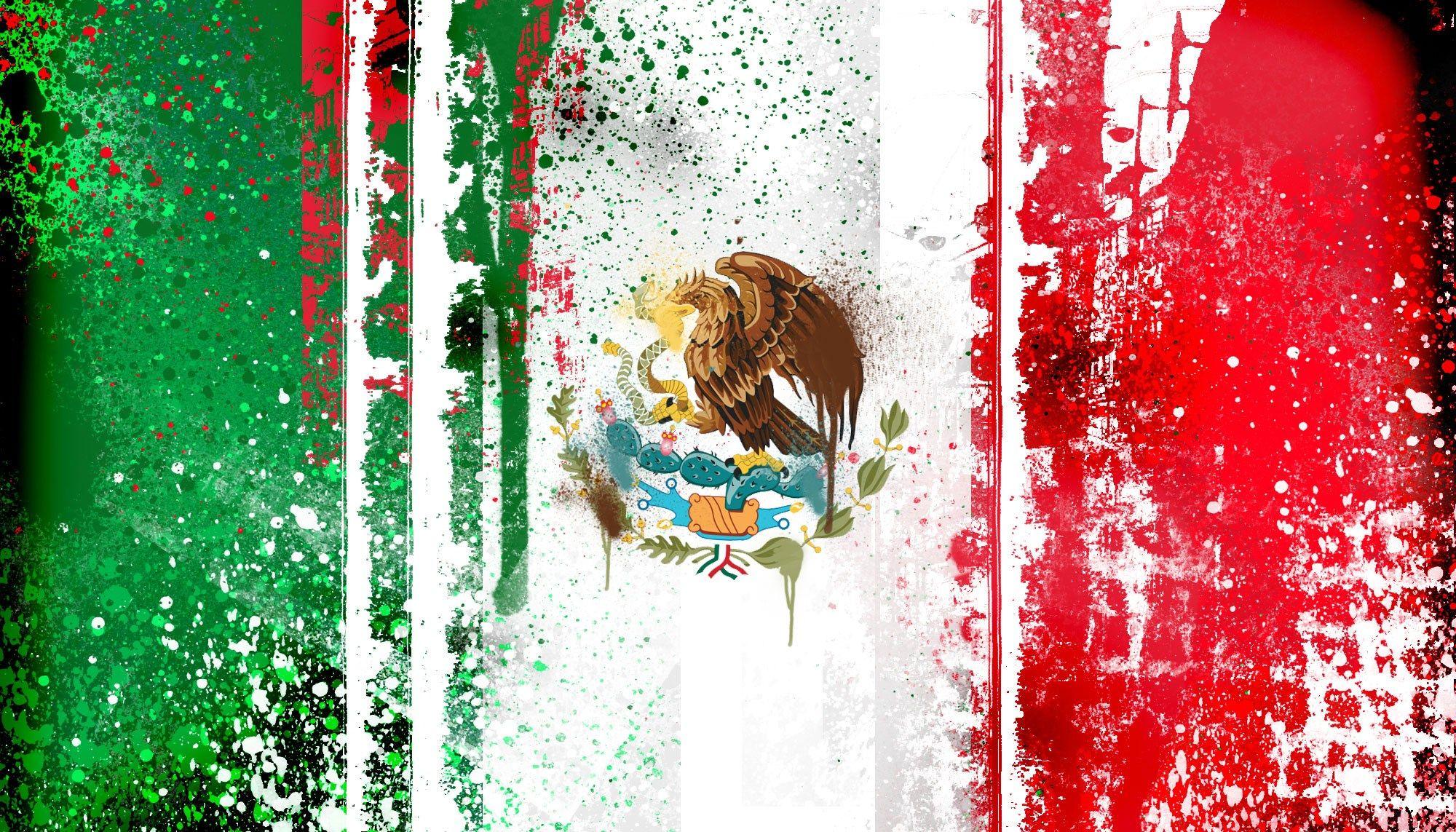 mexican flag abstract painting wallpaper ololoshenka Mexico 2000x1143