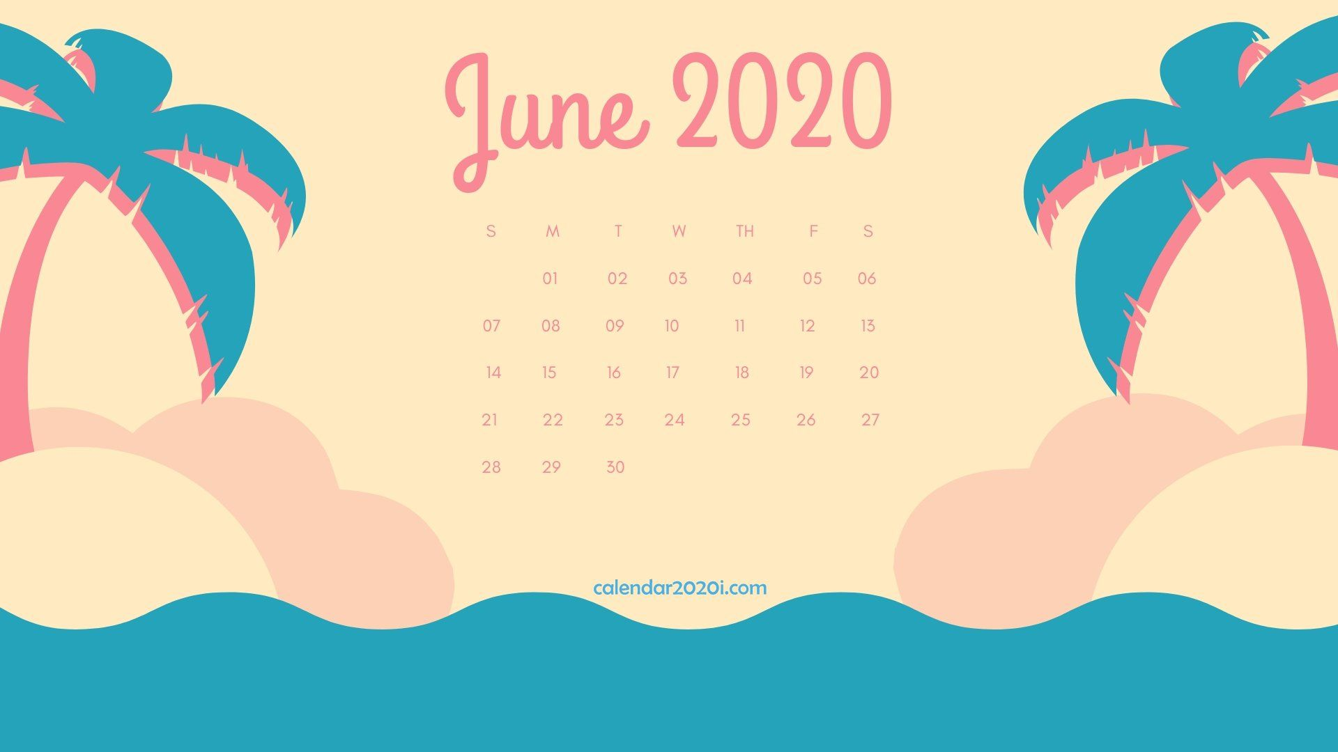 June 2020 Calendar Desktop Wallpaper in 2019 Calendar wallpaper 1920x1080