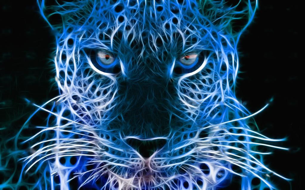 Digital Leopard Art Wallpapers: Blue Cheetah Wallpaper