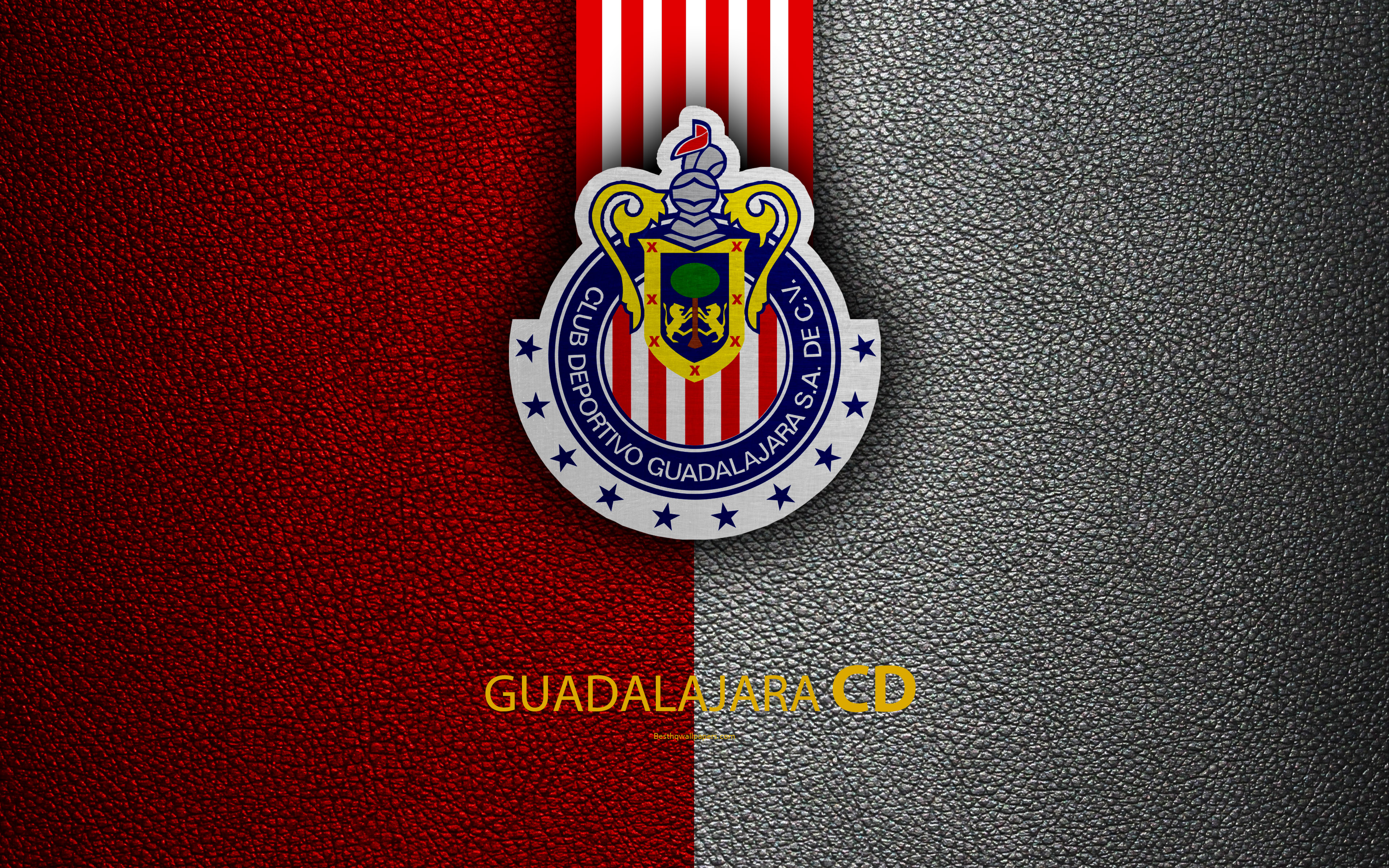 Download wallpapers CD Guadalajara Chivas 4k leather texture 3840x2400