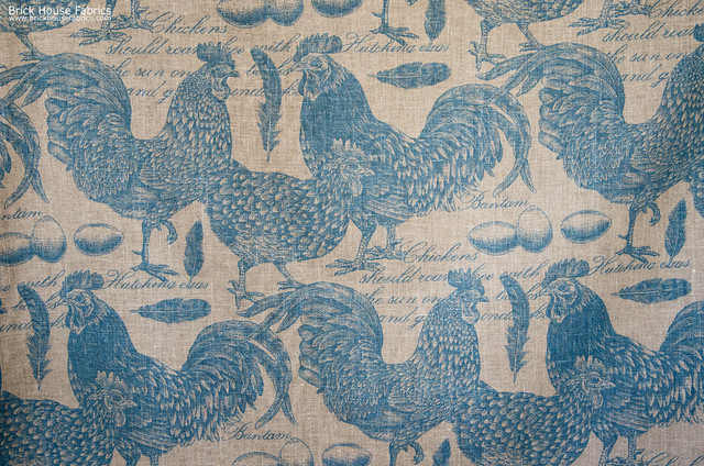 Chicken rooster toile fabric document script blue turquoise farmhouse 640x424