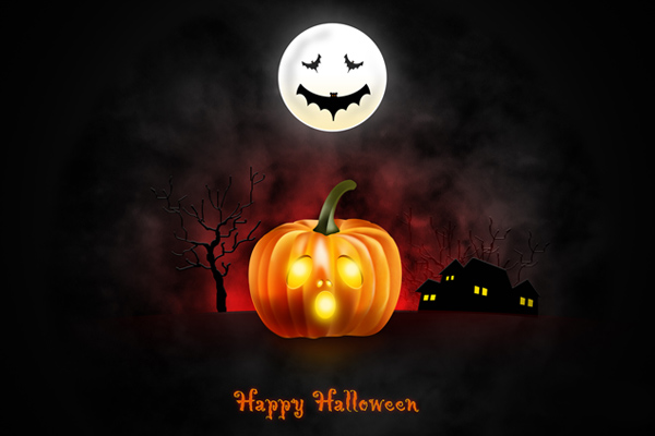Halloween wallpaper for desktop iPad iPhone PSD icons included 600x400