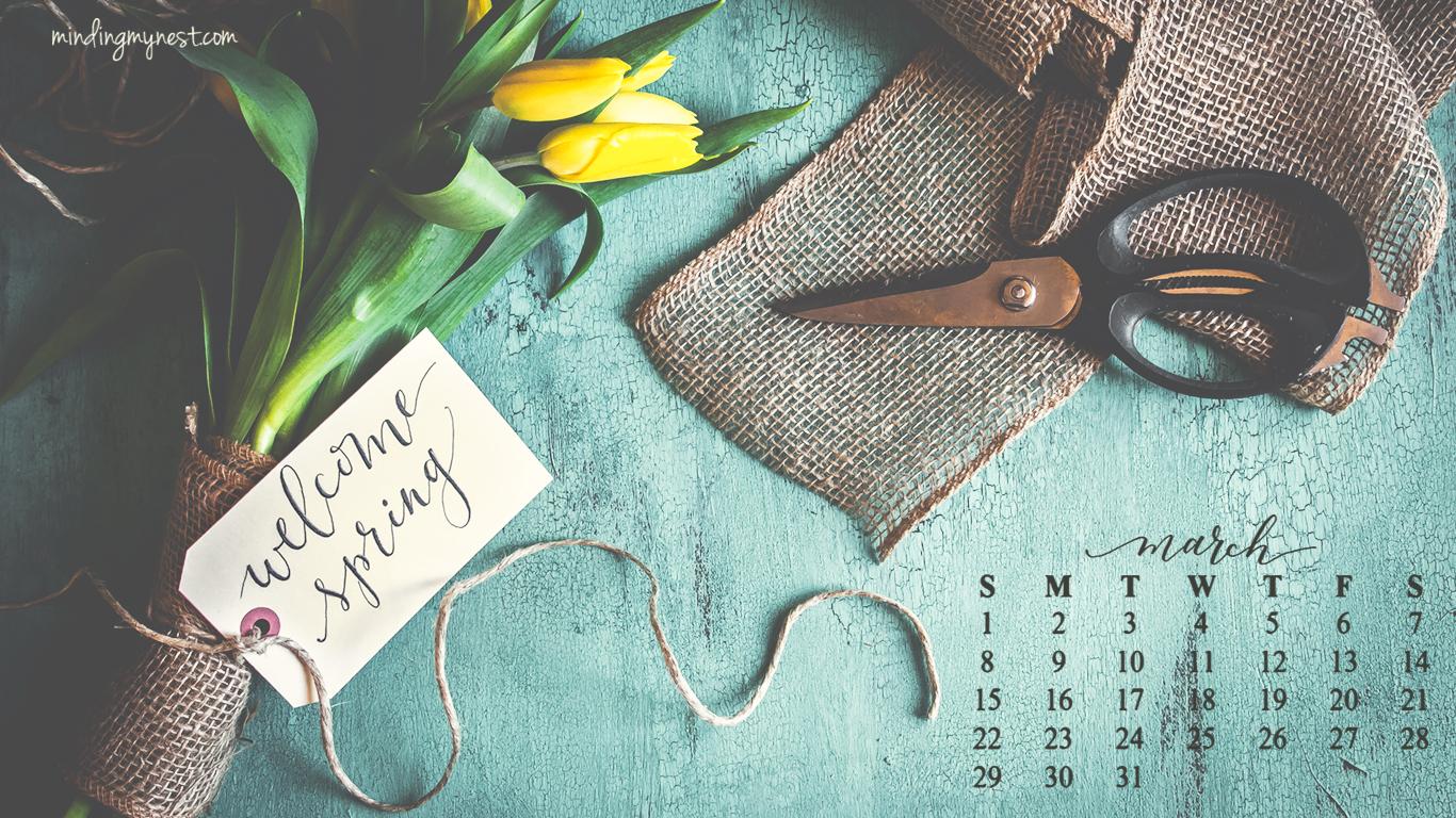 desktop calendar march 2015 1366x768