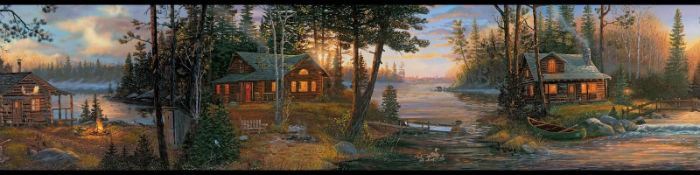 Rustic lodge wallpaper border made in the USA Cabin Fever Wall Paper 700x175