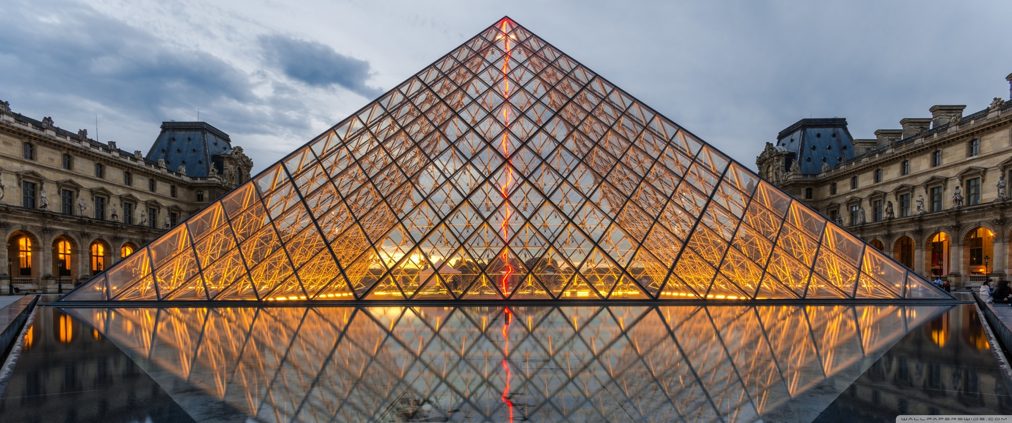 Pyramid of the Louvre Paris France Europe 4K HD Desktop 3440x1440