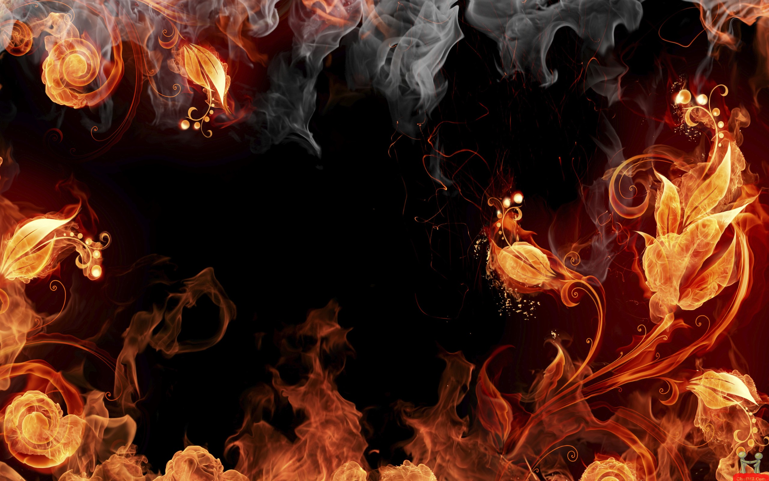 3D Fire Leaves HD Wallpapers For Desktop E Entertainment 2560x1600