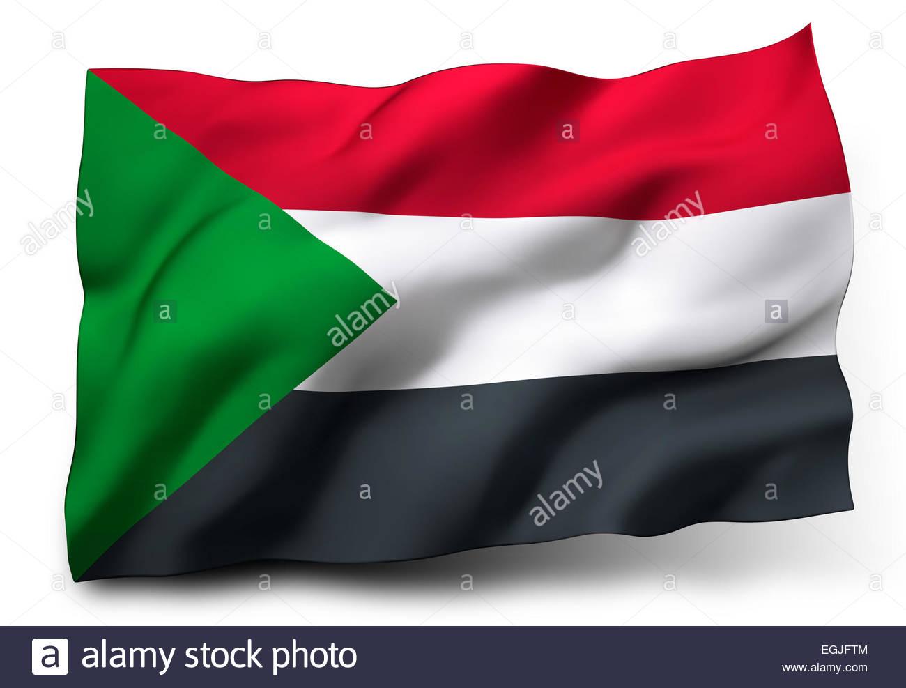 Waving flag of Sudan isolated on white background Stock Photo 1300x987